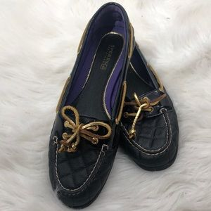EUC Black Quilted Sperry Audrey Loafers
